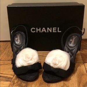 Chanel Black Bow Sandal with Camellia Flower Sz 36